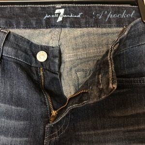 7 for all Mankind denim, dark wash.